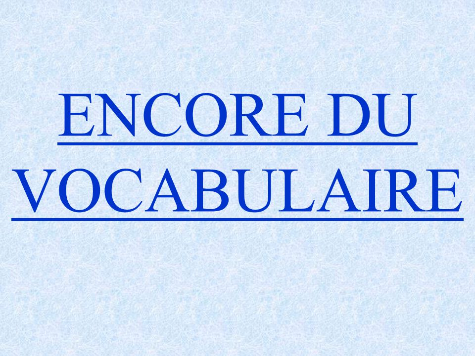ENCORE DU VOCABULAIRE