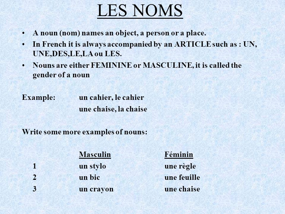 LES NOMS A noun (nom) names an object, a person or a place.