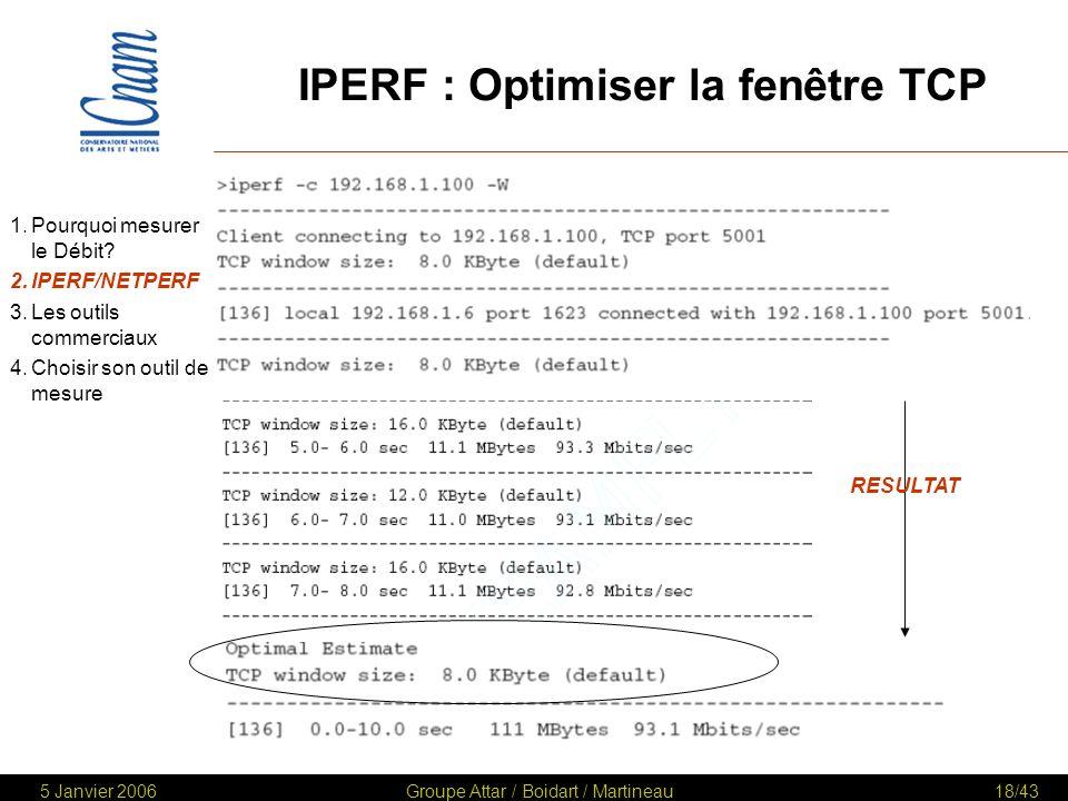 IPERF : Optimiser la fenêtre TCP