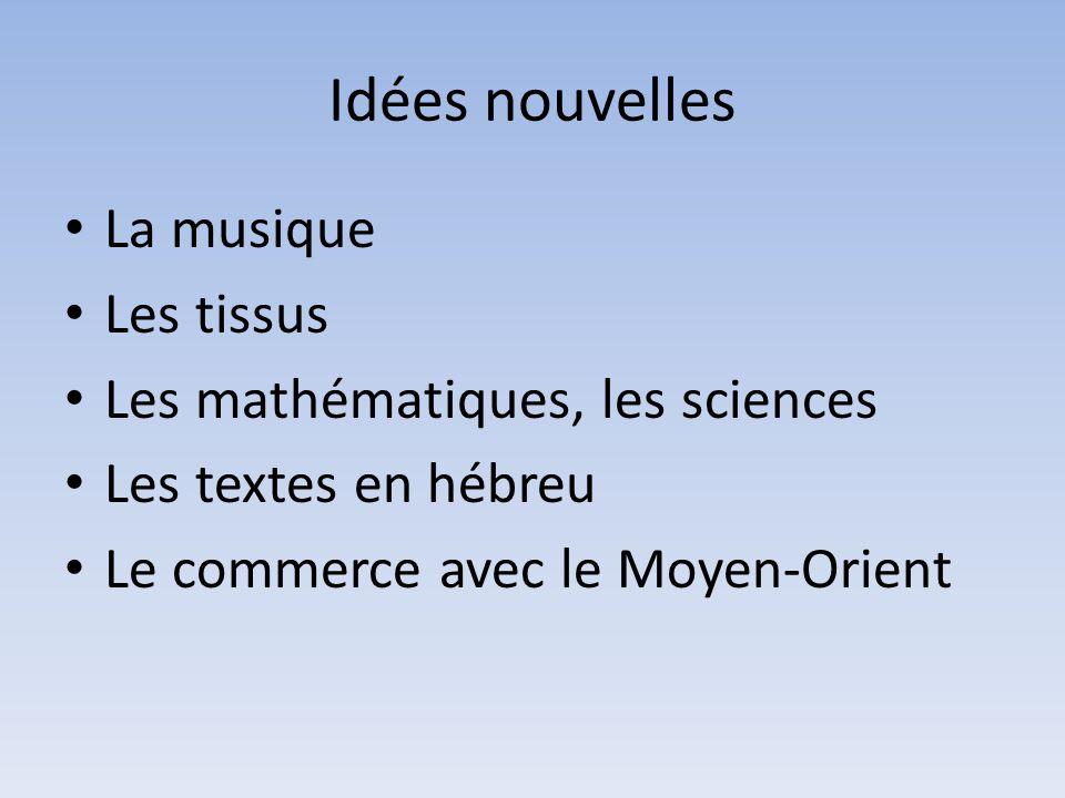 Idées nouvelles La musique Les tissus Les mathématiques, les sciences