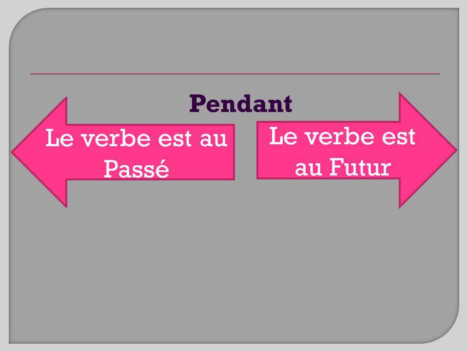 Pendant Le verbe est au Futur Le verbe est au Passé