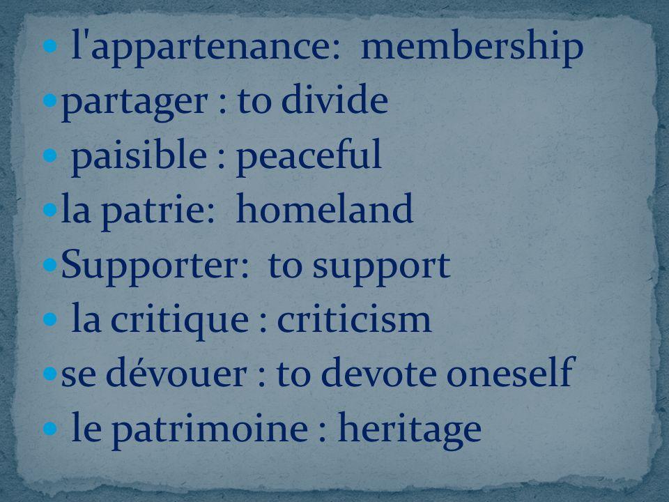l appartenance: membership