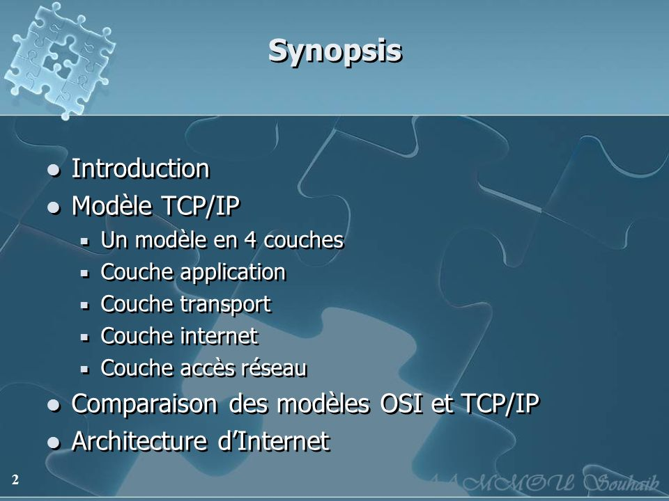 Synopsis Introduction Modèle TCP/IP