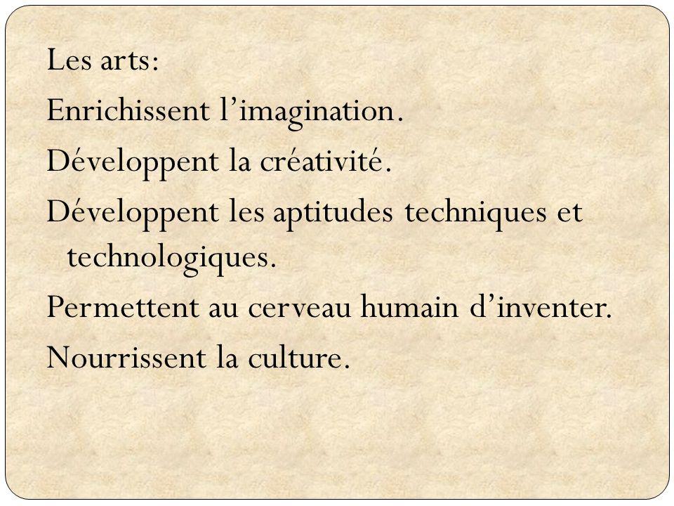 Les arts: Enrichissent l'imagination. Développent la créativité