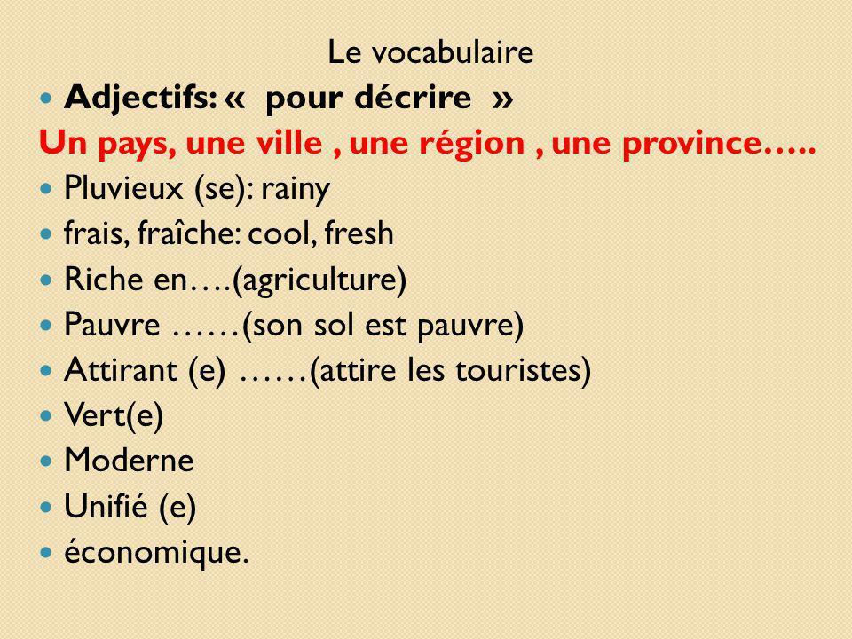 Le vocabulaire Adjectifs: « pour décrire » Un pays, une ville , une région , une province….. Pluvieux (se): rainy.