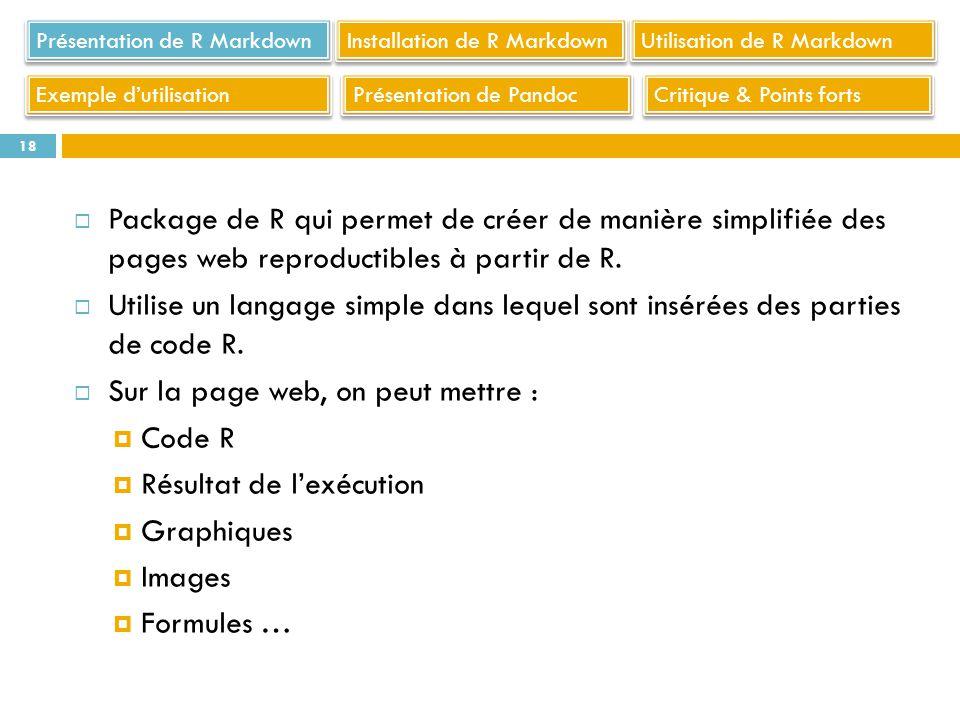 Sur la page web, on peut mettre : Code R Résultat de l'exécution