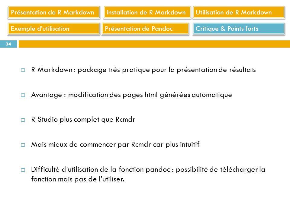 R Markdown : package très pratique pour la présentation de résultats