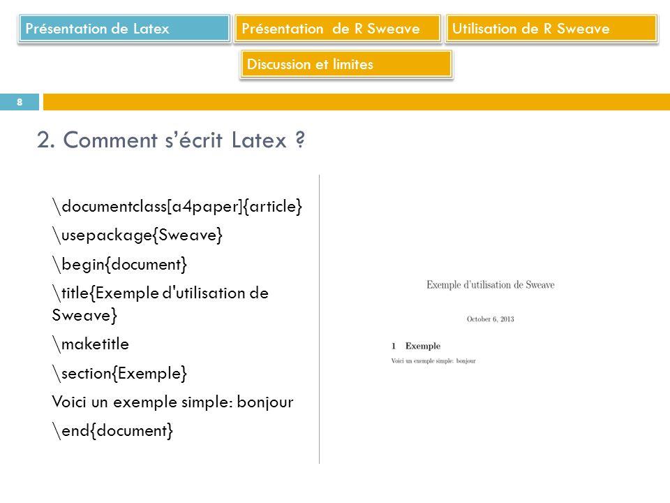 Présentation de Latex Présentation de R Sweave. Utilisation de R Sweave. Discussion et limites. 2. Comment s'écrit Latex