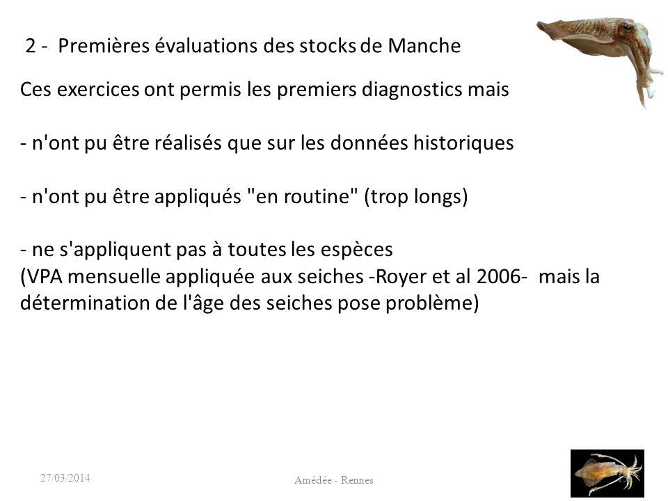 2 - Premières évaluations des stocks de Manche