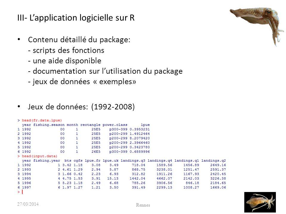 III- L'application logicielle sur R