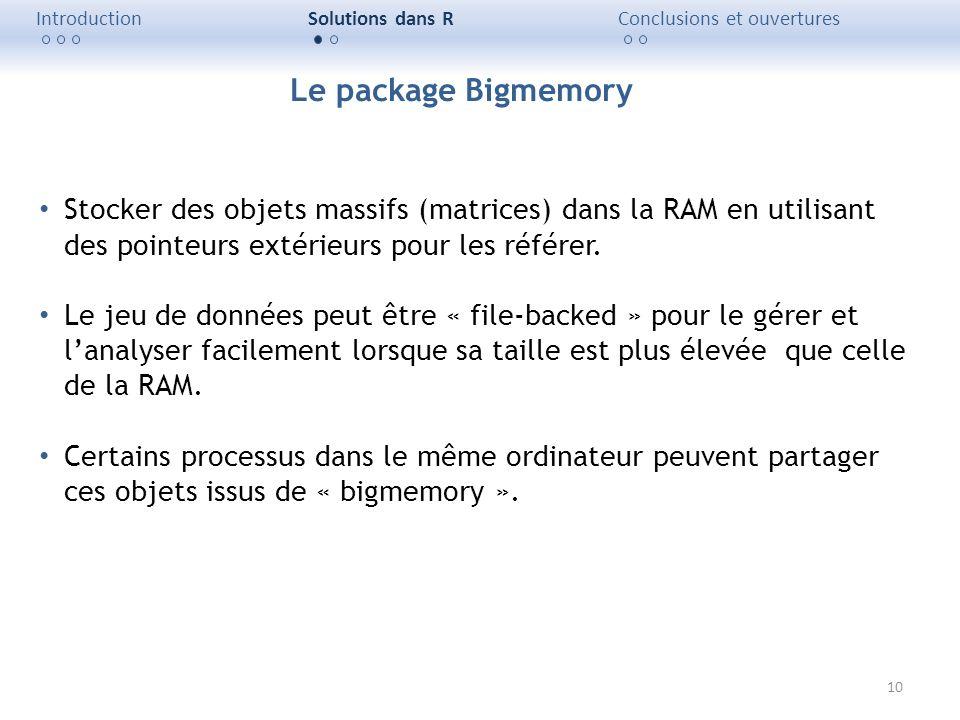 Introduction Solutions dans R. Conclusions et ouvertures. Le package Bigmemory.