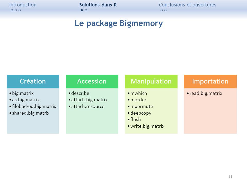 Le package Bigmemory Création Accession Manipulation Importation