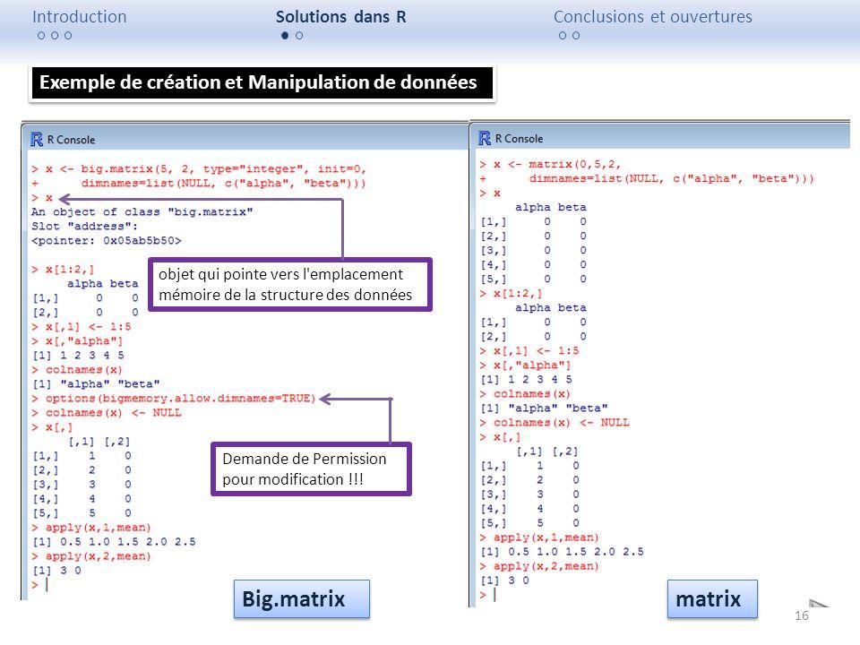 Big.matrix matrix Exemple de création et Manipulation de données
