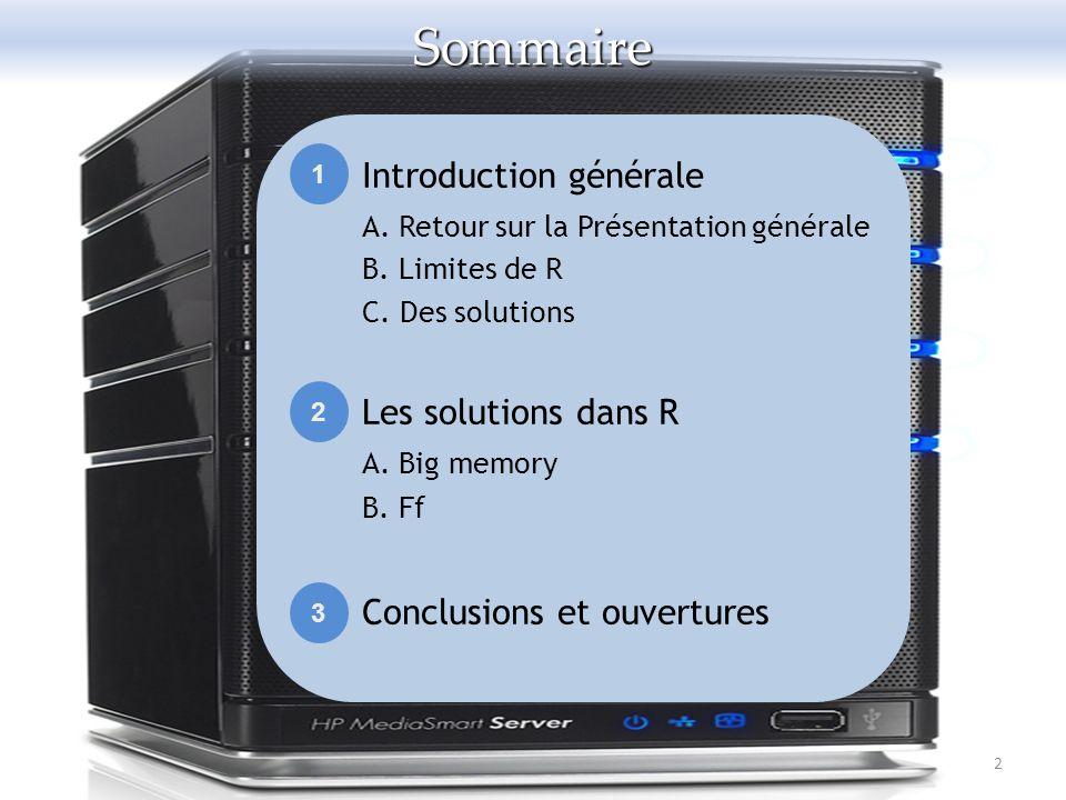 Sommaire Introduction générale Les solutions dans R