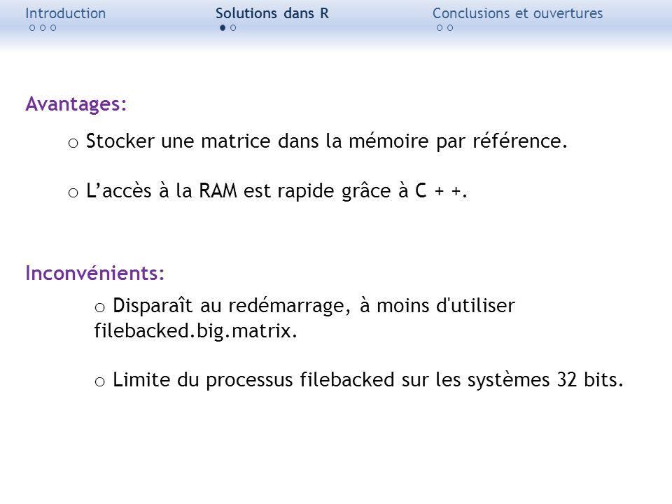 Stocker une matrice dans la mémoire par référence.