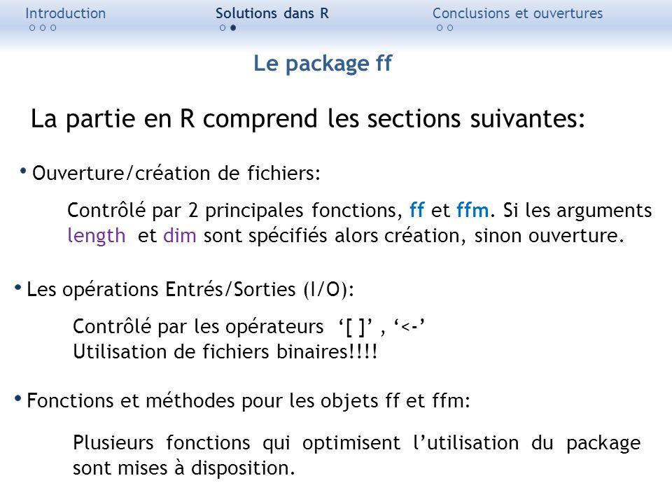 La partie en R comprend les sections suivantes: