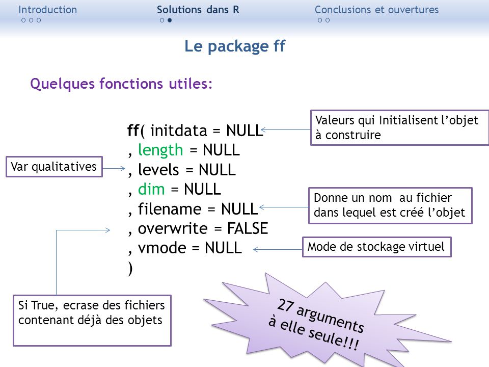 Le package ff ff( initdata = NULL , length = NULL , levels = NULL