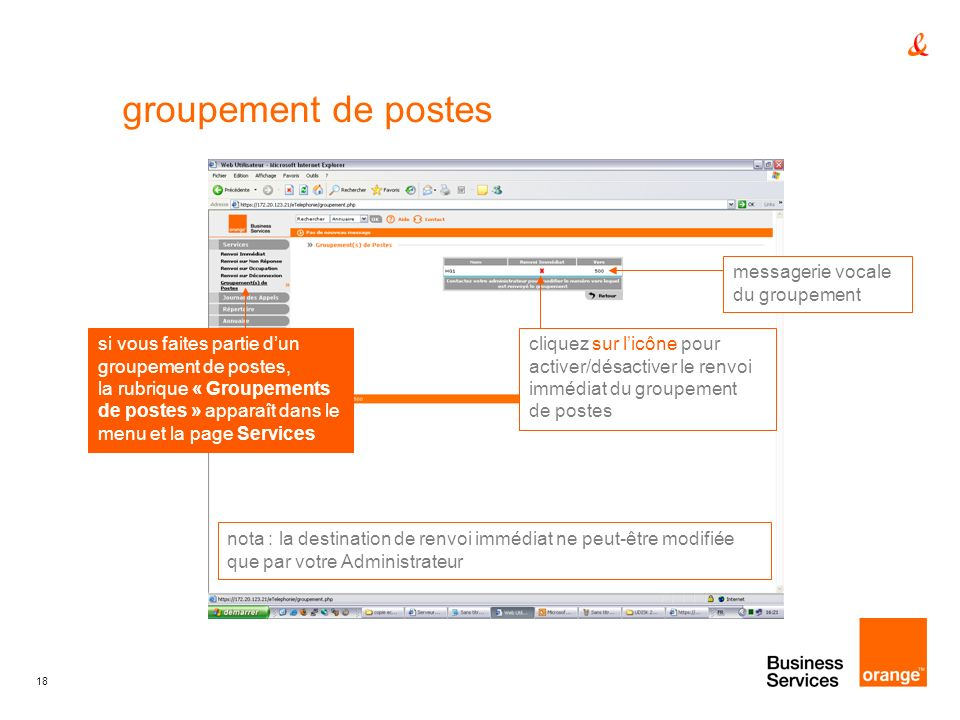 groupement de postes messagerie vocale du groupement
