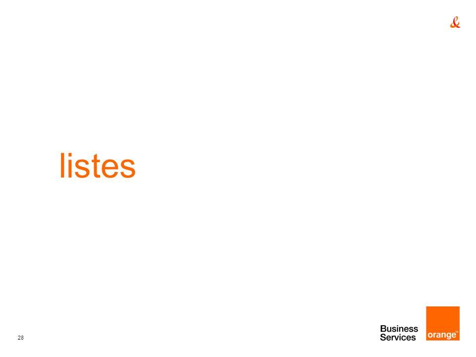 listes titre de la presentation