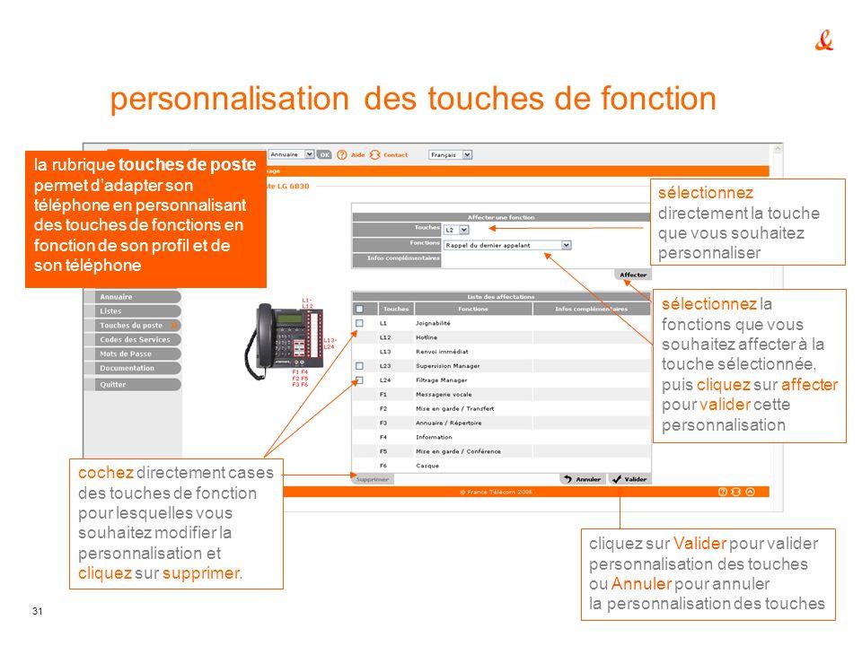 personnalisation des touches de fonction