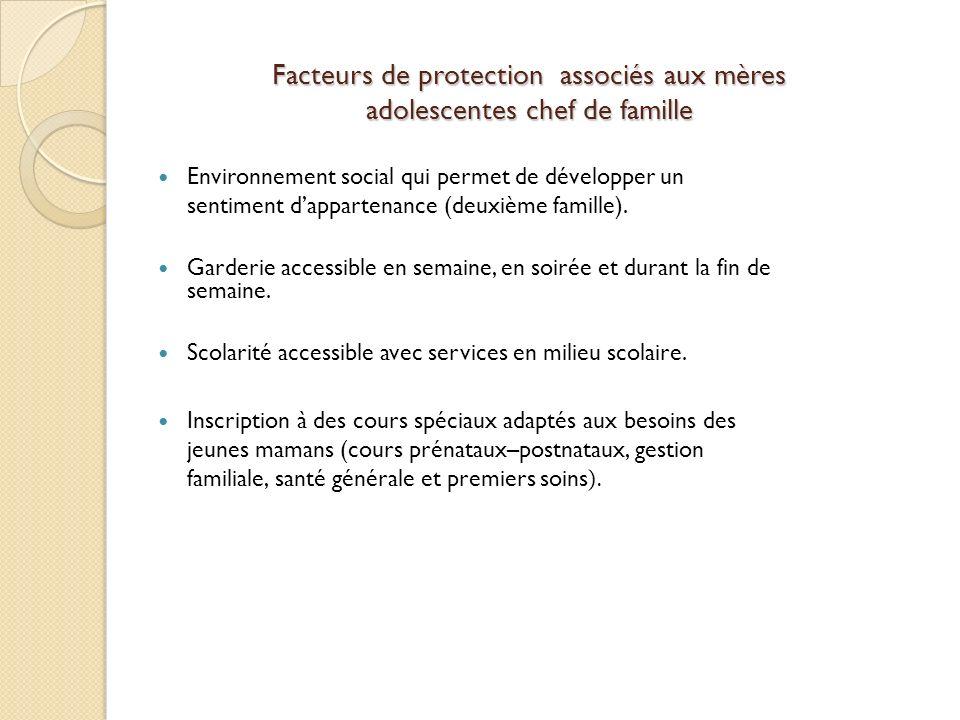 Facteurs de protection associés aux mères adolescentes chef de famille