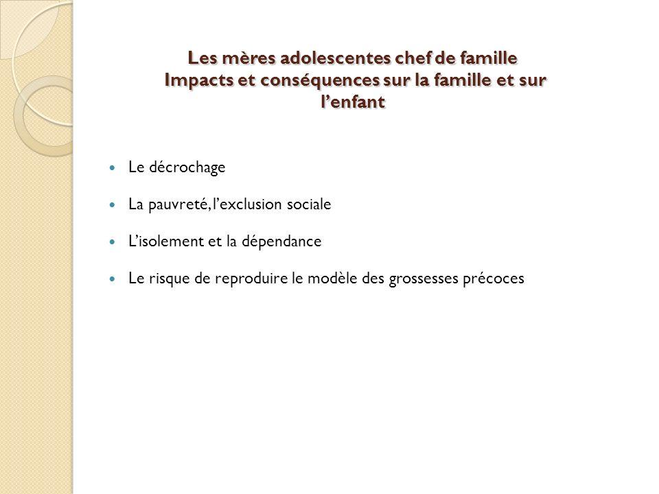 Les mères adolescentes chef de famille Impacts et conséquences sur la famille et sur l'enfant