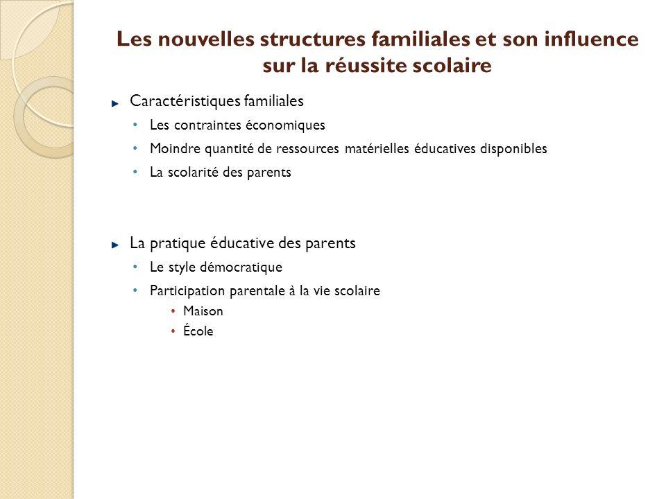 Les nouvelles structures familiales et son influence sur la réussite scolaire