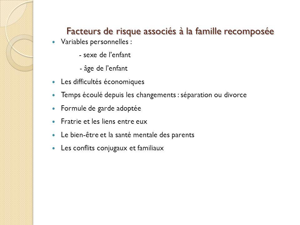 Facteurs de risque associés à la famille recomposée