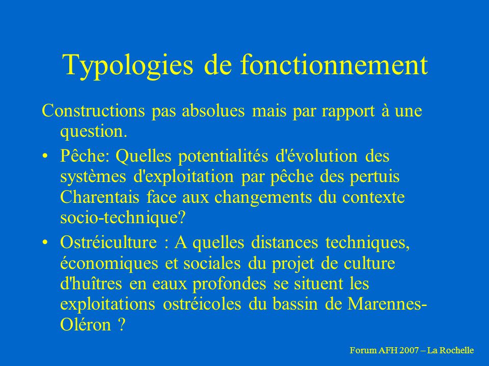 Typologies de fonctionnement