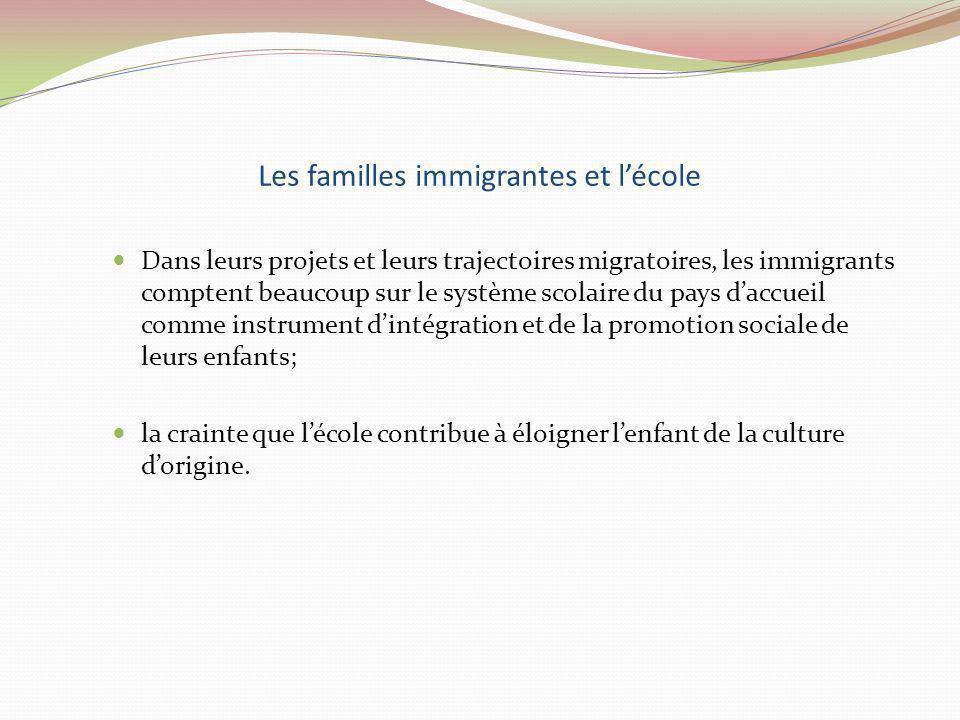 Les familles immigrantes et l'école