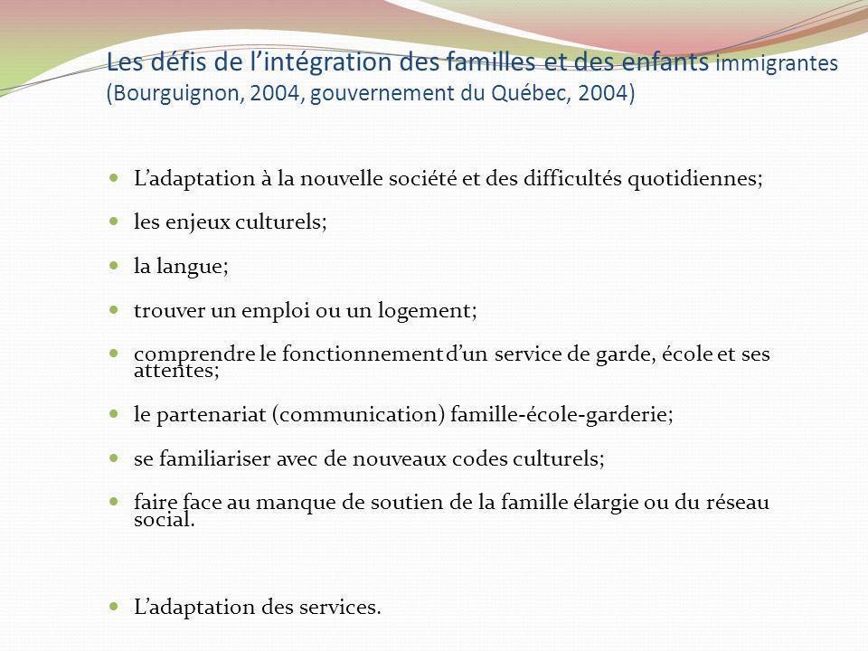 Les défis de l'intégration des familles et des enfants immigrantes (Bourguignon, 2004, gouvernement du Québec, 2004)
