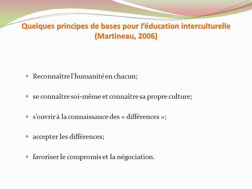 Quelques principes de bases pour l'éducation interculturelle (Martineau, 2006)