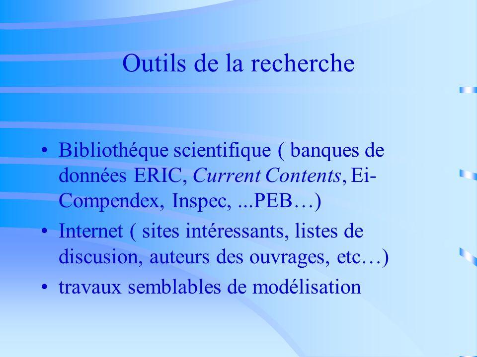 Outils de la recherche Bibliothéque scientifique ( banques de données ERIC, Current Contents, Ei-Compendex, Inspec, ...PEB…)