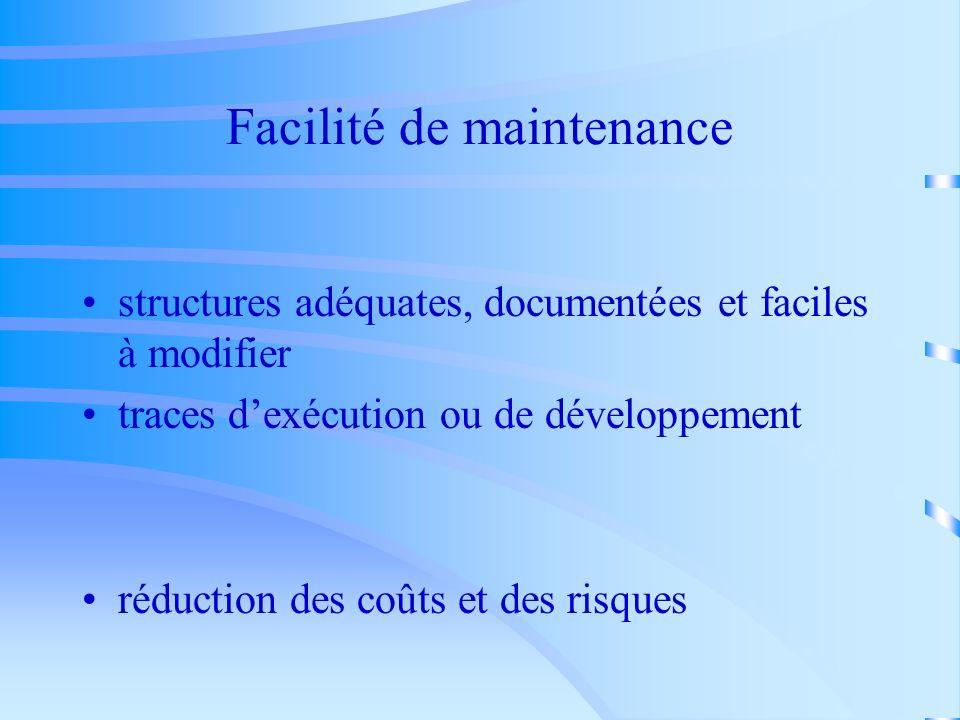 Facilité de maintenance