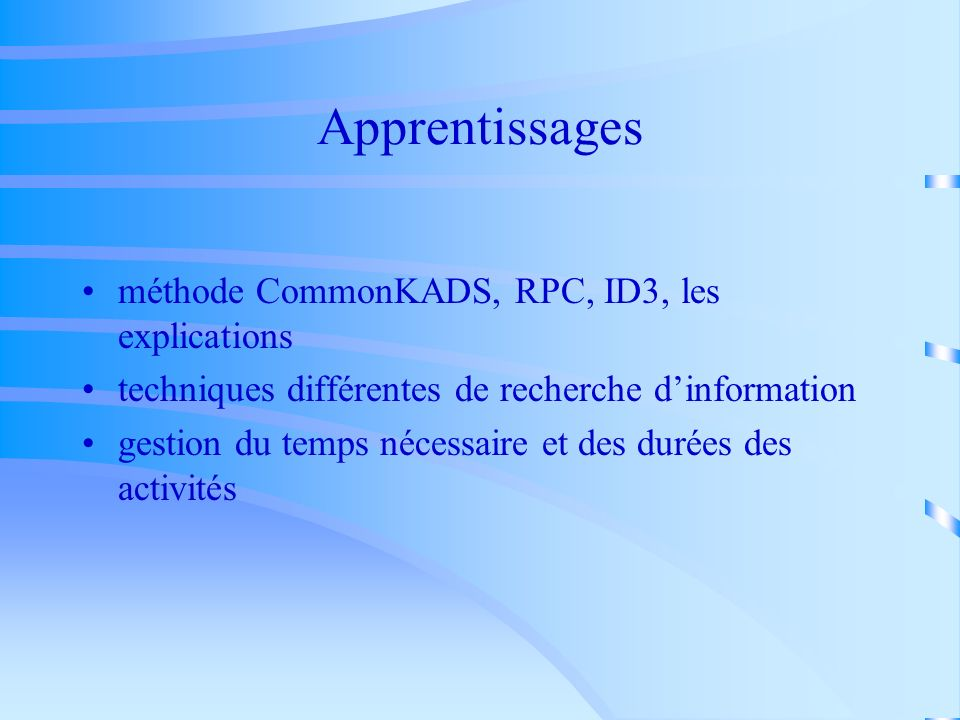 Apprentissages méthode CommonKADS, RPC, ID3, les explications