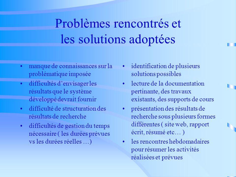 Problèmes rencontrés et les solutions adoptées