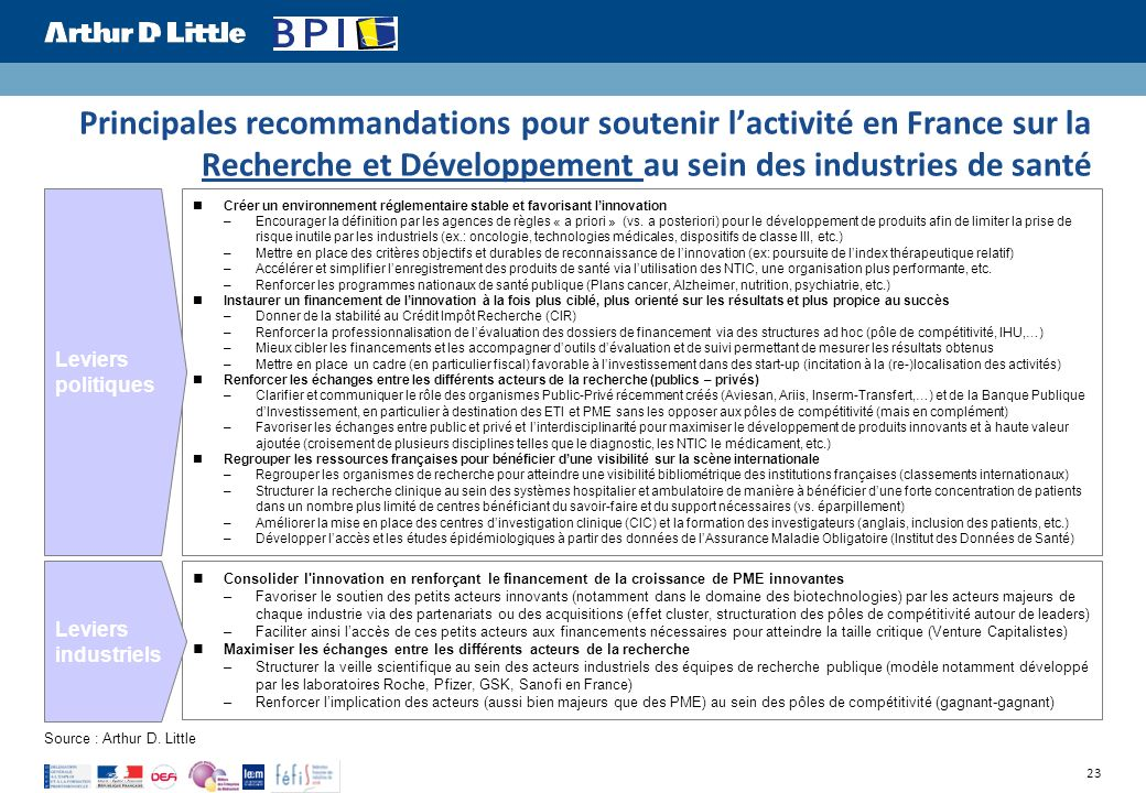 Principales recommandations pour soutenir l'activité en France sur la Recherche et Développement au sein des industries de santé