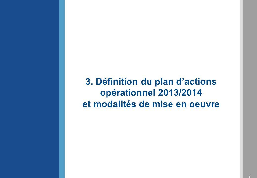 3. Définition du plan d'actions opérationnel 2013/2014