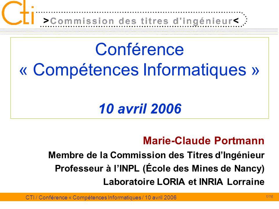 Conférence « Compétences Informatiques » 10 avril 2006