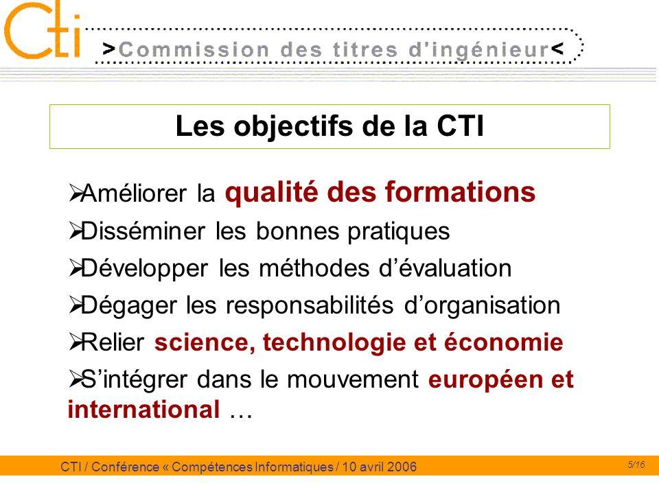 Les objectifs de la CTI Améliorer la qualité des formations