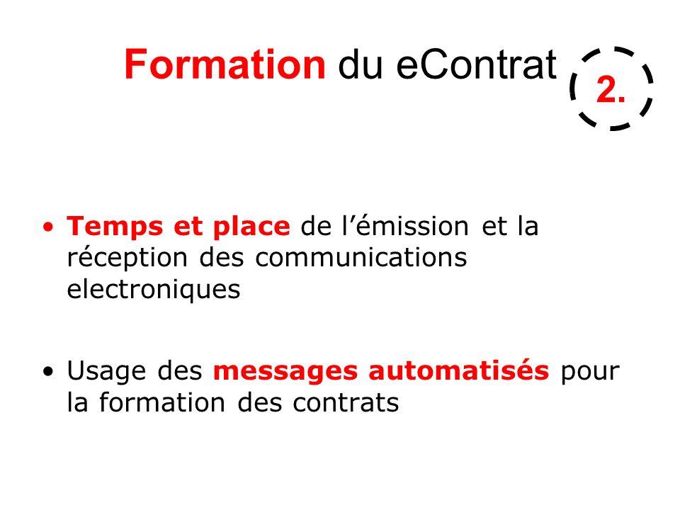 Formation du eContrat 2. Temps et place de l'émission et la réception des communications electroniques.