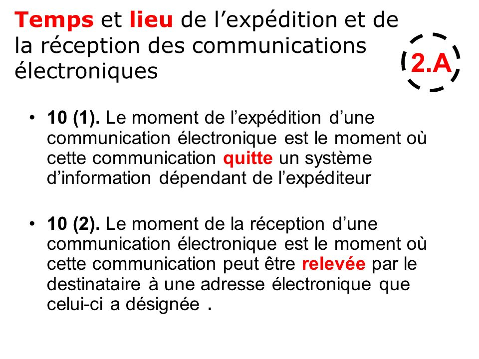 Temps et lieu de l'expédition et de la réception des communications électroniques