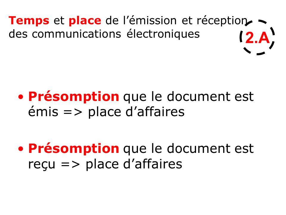 2.A Présomption que le document est émis => place d'affaires
