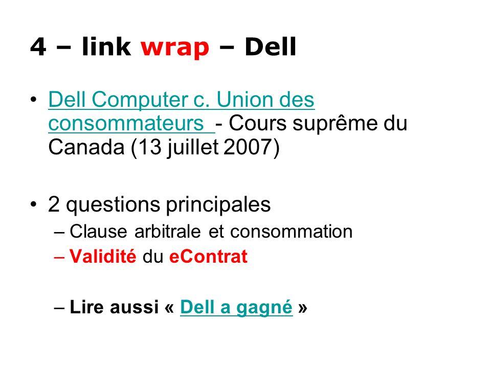 4 – link wrap – Dell Dell Computer c. Union des consommateurs - Cours suprême du Canada (13 juillet 2007)