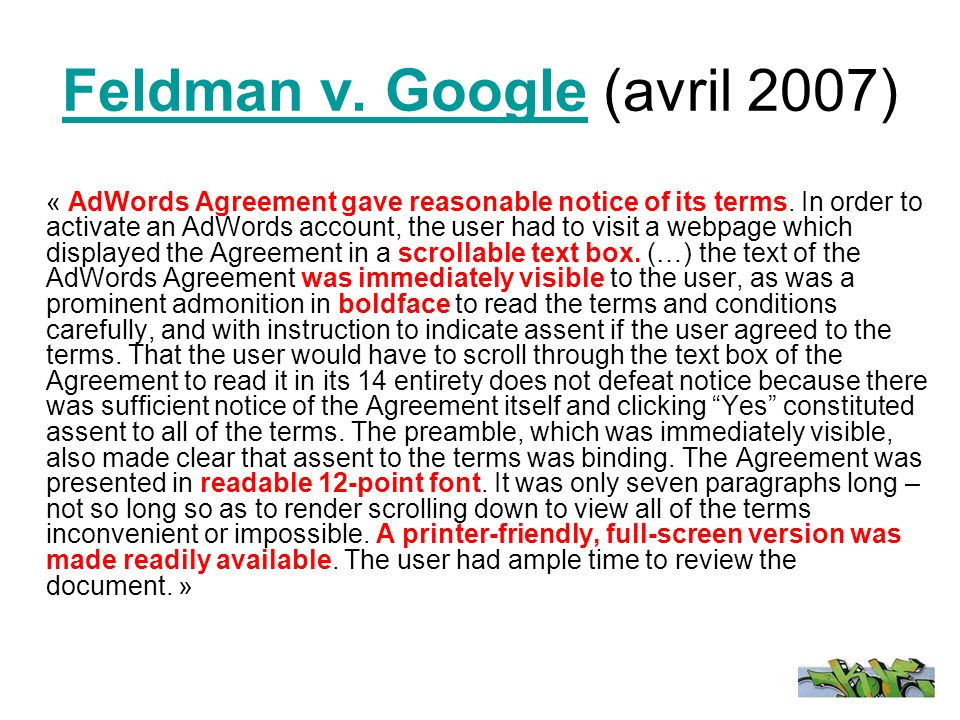 Feldman v. Google (avril 2007)