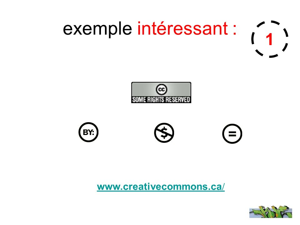 exemple intéressant : 1 www.creativecommons.ca/