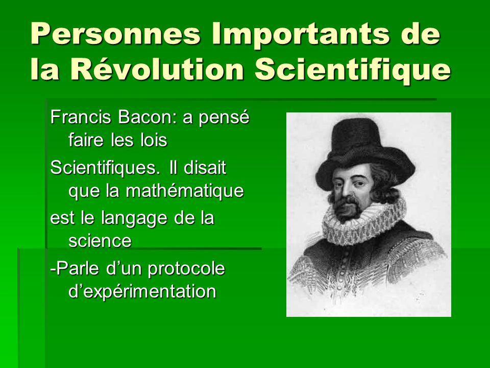 Personnes Importants de la Révolution Scientifique