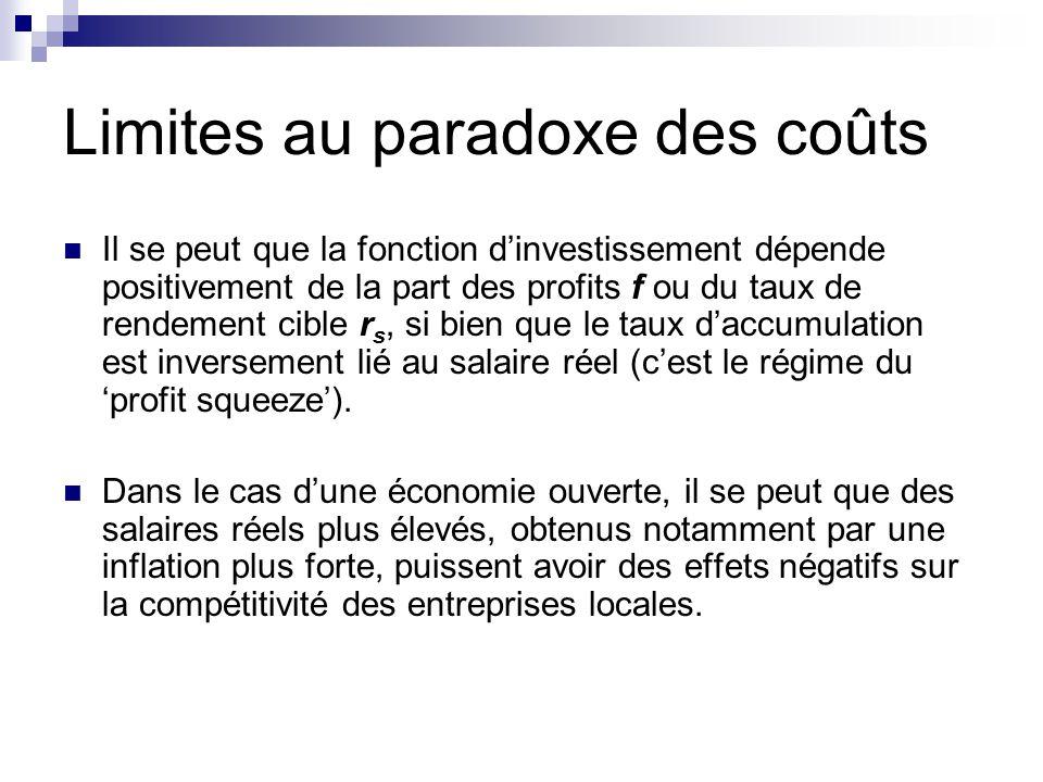 Limites au paradoxe des coûts