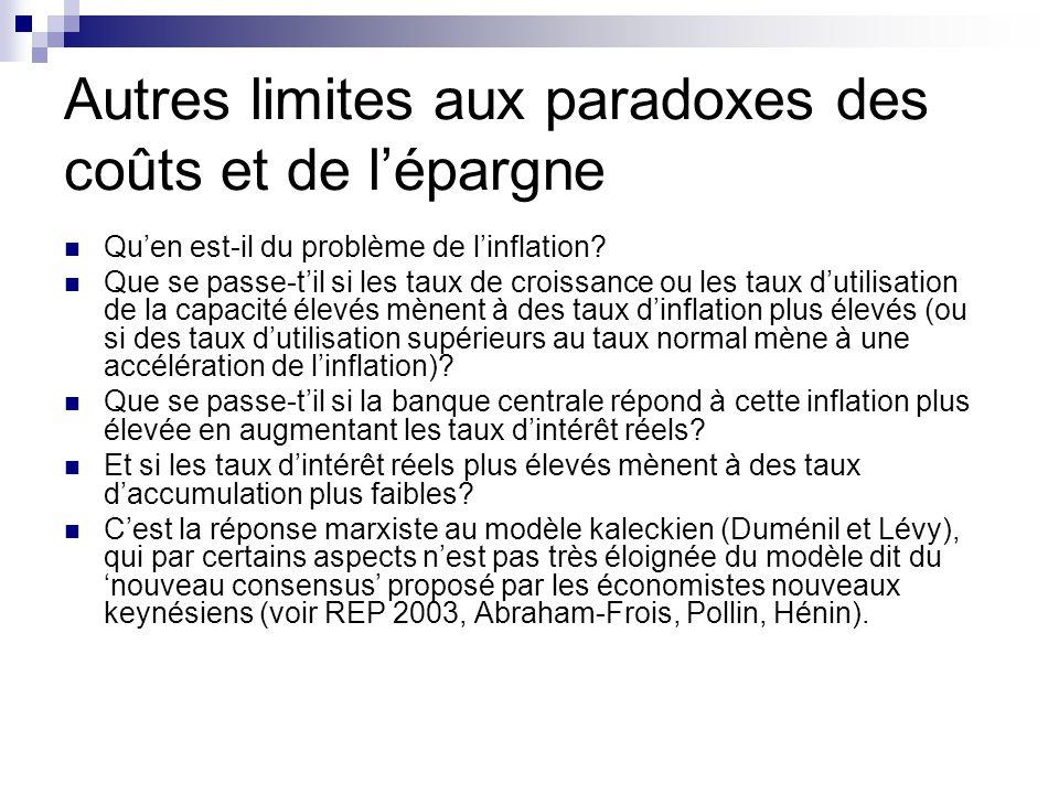 Autres limites aux paradoxes des coûts et de l'épargne