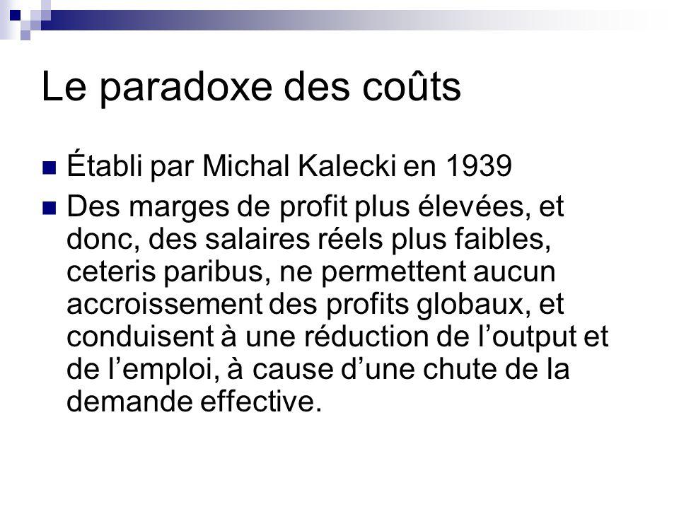 Le paradoxe des coûts Établi par Michal Kalecki en 1939